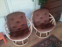 Vintage 360 Degree Rotating Swivel Rattan Chairs set of 2. Removable Cushions for easy cleaning