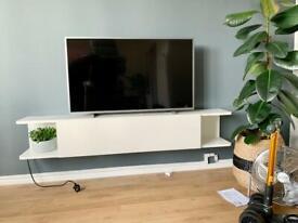 IKEA MOSTORP TV media shelves. Floating shelves with power. White