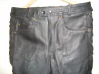 Bikers leather jeans with leather lace up sides