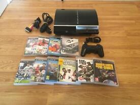 80gb PS3 CONSOLE COMPLETE WITH 10 GAMES & CONTROLLER £50 no offers (PlayStation 3)