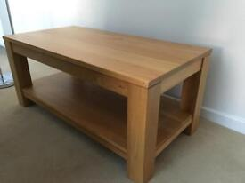 Solid pine coffee table with shelf