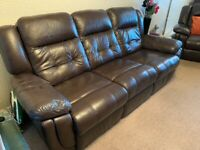 Lazyboy 3 piece dark brown leather suite (sofa and armchairs)