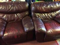 2 armchair brown Lather free for anyone who needs
