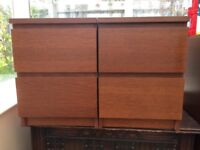 Ikea Malm bedside cabinets and drawers