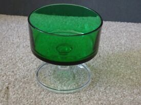 13 green coloured glasses suitable for tea lights; mix of sizes and shades