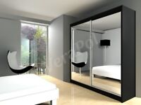 SAME/NEXT DAY DELIVERY New Berlin 2 OR 3 Door Full Mirror Sliding Wardrobe w Shelves &Rails
