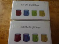 2 SETS OF 4 BRIGHT CERAMIC MUGS, ALSO 2 WREN MUGS - NEW IN BOX