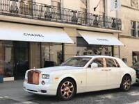 Rolls Royce Phantom Hire London / White Wedding Car / Birthday / Funeral / Luxury Chauffeur