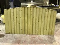 Bow top fence panels pressure treated green