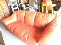 FREE Tan/Dark Orange Leather Three Seater Setee/Sofa