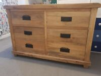 Solid oak chest of drawers.