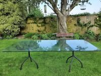 Stunning large glass dining table for inside or outside