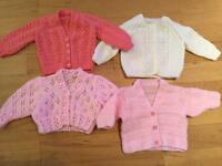 4 x hand knitted girls cardigans aged 0-6 months