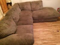 Jumbo brown cord corner sofa bed