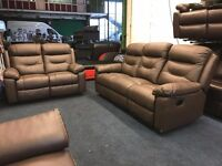 LITTLEWOODS DENVER REAL CHOCOLATE BROWN LEATHER RECLINER 3 AND 2 SEATER SOFA SET THREE PLUS TWO