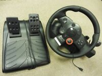 Logitech Force Steering Wheel & Pedals. PS3 Playstation 3 Gran Turismo 5 6