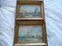 Two lovely matching paintings of ships and seascapes in gilt frames