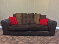 Brown Scatter back half fabric and half leather Sofas 3 Seater and 2 Seater