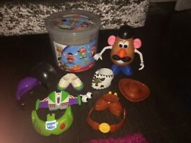 Mr potato head with buzz and woody outfits
