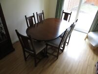 Oak Dining Room Table and Six Chairs