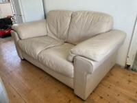 FREE Two Seater Cream Leather Sofa and Foot Stool