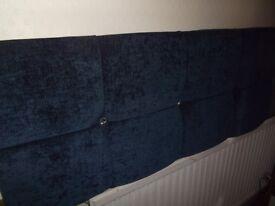 Deep navy double bed headboard