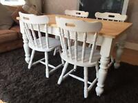 Amazing 4 1/2 ft Shabby Chic Chunky Farmhouse Pine Table and 4 Lovely Chairs