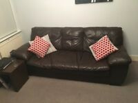 DFS Brown leather 3/4 seater sofa for sale