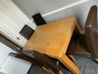 Sturdy wooden table and chairs