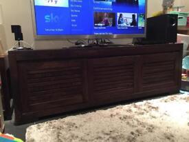 Solid dark mango wood tv cabinet