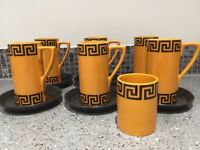 Set of 6 Portmerion matt orange coffee cups and saucers with Greek key design. 1967. Immaculate.