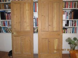 A selection of Victorian pine stripped doors for sale