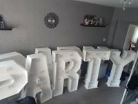 4ft freestanding PARTY and BABY word lights for sale