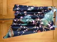 Designer Printed asymmetric satin skirt PACO RABANNE UK 10 RRP 400.00