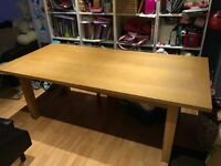 Solid Oak 7ft + 2ft Dining Room Table