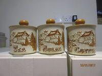 Tea, sugar, coffee earthenware storage containers