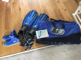 Dive fins, mask, snorkel, dive gloves, booties, bag and dive planner