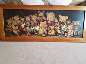 Large antique pine teddy picture.REDUCED TO £10