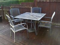 GARDEN FURNITURE SET, TABLE AND 4 CHAIRS, METAL, GREY FINNISH, PATIO SET, EXPENSIVE NEW!