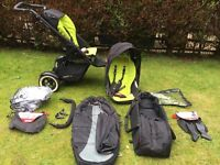 Phil and teds dot double pram with accessories including cocoon, footmuff, rain cover