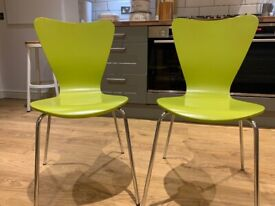 Free- 2 next green painted dining chairs with chrome legs