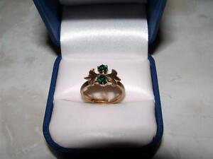 LADIES GOLD PLATED RING WITH 2 GREEN STONES ****NICE**** London Ontario image 1