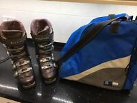 Ladies Salomon Ski Boots and Boot bag