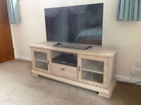 Washed oak effect TV and video cabinet
