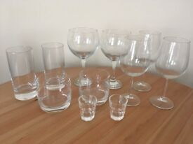 Wine, whiskey, cocktail, shot glasses - 14 piece set!