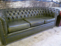 CLASSIC 3 SEAT GREEN LEATHER CHESTERFIELD SOFA SETTEE & CLUB CHAIR VINTAGE ANTIQUE RETRO FURNITURE