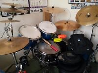 Mapex QR (Blue Sparkle) Drum kit for Sale (drumkit for beginners, all equipment included)