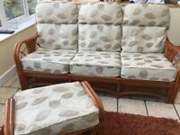 Conservatory furniture 3-seater settee, 2 armchairs, glass top coffee table, cushioned stool