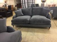 Renaissance plush steel velvet 3 & 2 seater sofa set
