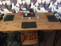 Wooden and metal table and chairs